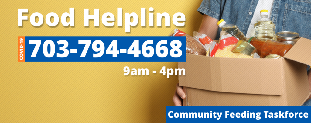 a person is holding a box of groceries. It says food helpline 7037944668 9am to 4pm. Community Feeding Taskforce