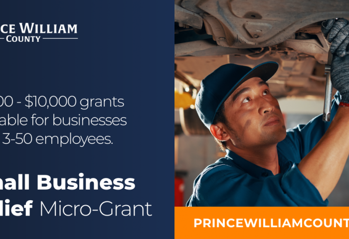 A mechanic is working on a car. Caption states $7500-$10000 grants available for businesses with 3-50 employees. Small business relief micro-grant. Princewilliamcounty.biz.