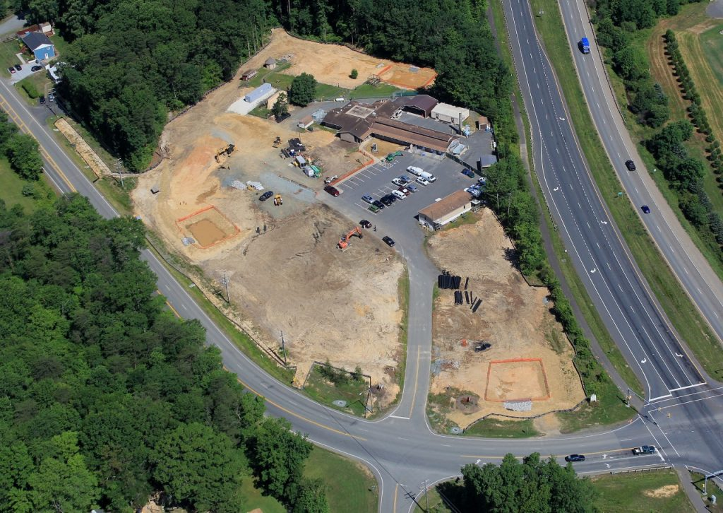 Aerial view of animal shelter construction