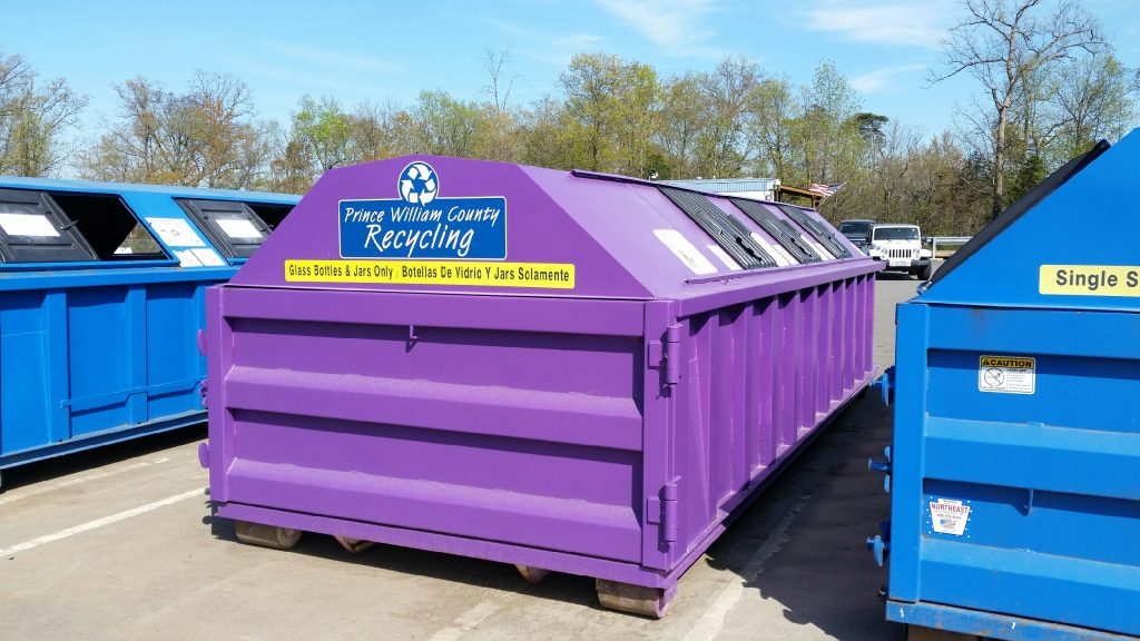 Purple and blue recycling bins prince william county