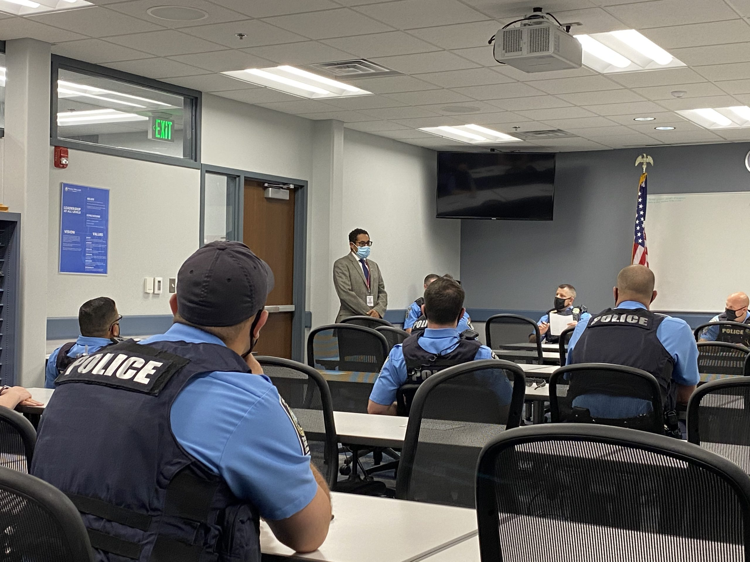 Supervisor Boddye answers officers' questions during Roll Call on Nov 4 2020