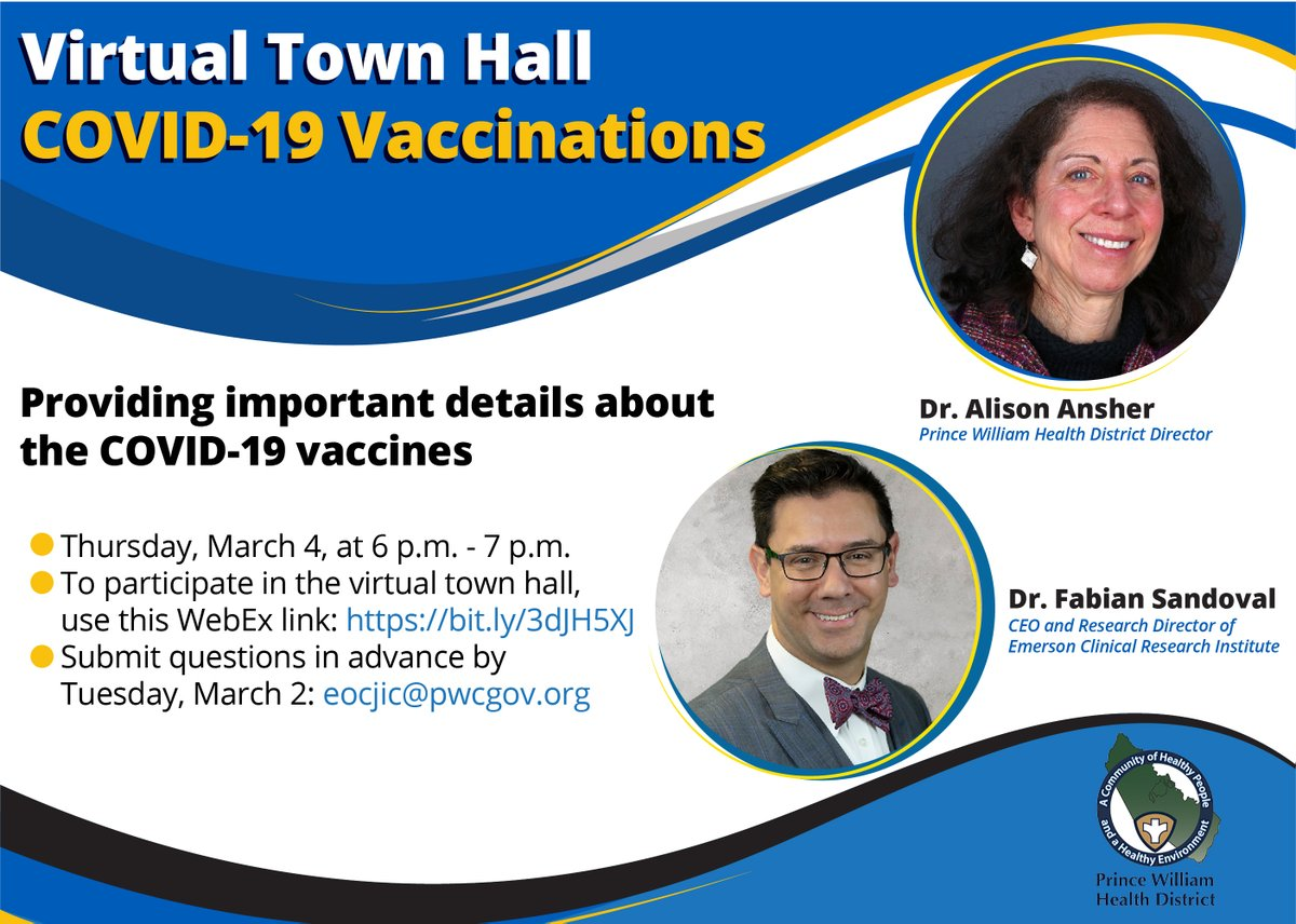Promoting Vaccine Town Hall on March 4 at 6pm